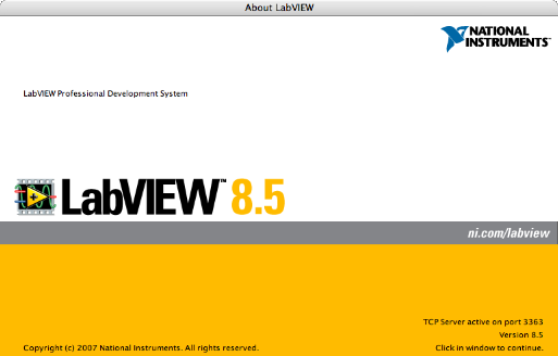 LabVIEW 8.5 About Box