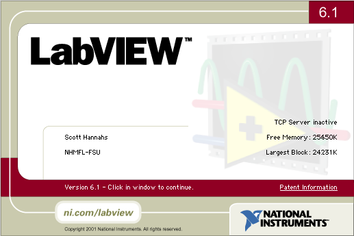 LabVIEW 6.1 About Box